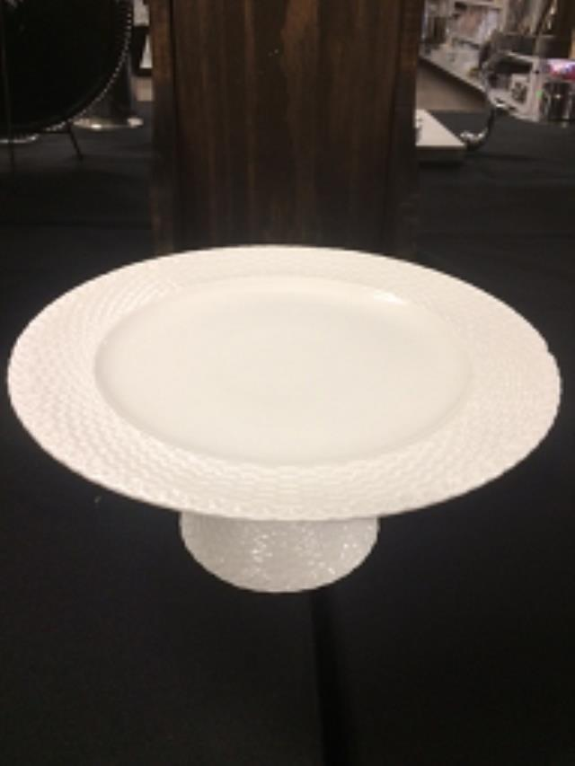 Where to find CAKE STAND IVORY BASKET WEAVE EDGEWE in Stevens