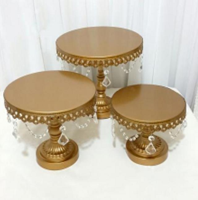 Where to find CAKE STAND GOLD   CRYSTALS SET OF 3 in Stevens