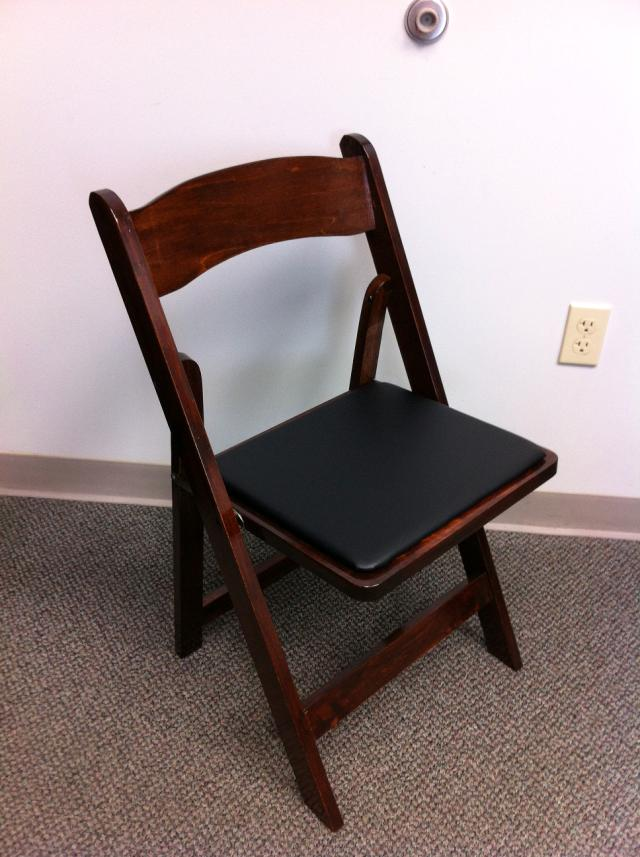 Where to find CHAIR DARK WOOD PADDED  BLACK PAD in Stevens