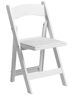 Where to find CHAIR WHITE PADDED RESIN in Stevens